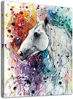 arteWOODS Colorful Horse Canvas Wall Art Modern Horse Head Watercolor Canvas Artwork Steed Portrait Contemporary Wall Art for Home Decor Bedroom Living Room Decoration Framed Ready to Hang 12