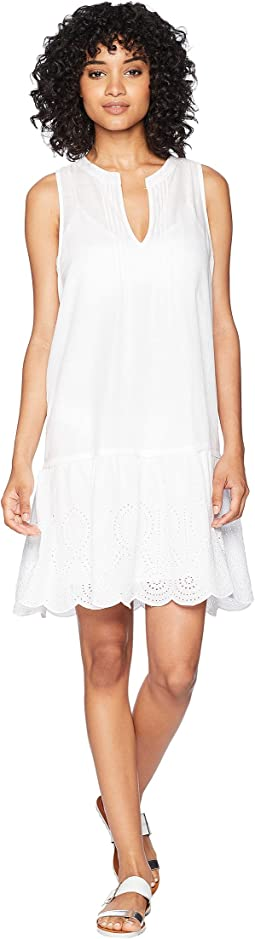 Pintuck Eyelet Sleeveless Cover-Up Dress