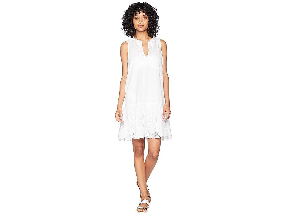 Vineyard Vines Golf Pintuck Eyelet Sleeveless Cover-Up Dress (White Cap) Women