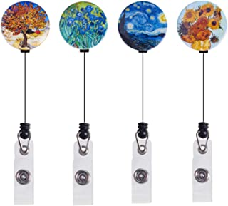 ZEALUX Van Gogh Retractable Badge Holder with 360° Degree Swivel Double Alligator Clip, ID Badge Reel with Painting, 4 Pack Great Gift (Van Gogh Painting Set)