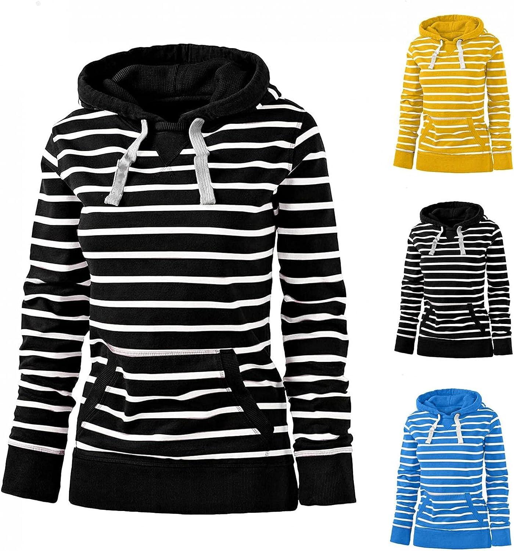 Long Sleeve Hoodies for Women Casual Lightweight Sweatshirts with Drawstring Teen Girls Fashion Striped Shirts Fall Tops