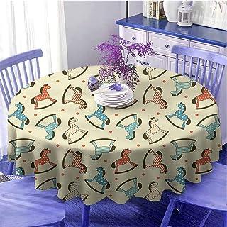 Nappe ronde avec motif de cheval - Motif de fond à pois - Pour enfants - Cadeau coloré pour femme - Diamètre : 160 cm - Mu...