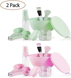 GCOA DIY Face Mask Mixing Bowl Set, Facemask Mixing Tool Kit with Silicon Face Mask Brush Facial Mask Bowl Stick Spatula Gauges Puff, (Green & Pink,2 Set,9 In 1)