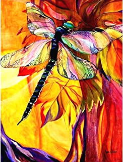 HuaCan Diamond Painting Kits for Adults DIY 5D Full Square Drill Crystal Rhinestone Embroidery Pictures Arts Craft for Home Wall Decor Dragonfly 45x60cm