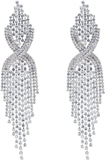 Silver Teardrop Crystal Long Tassels Dangle Earrings Sparkling Rhinestone Ladies Gifts
