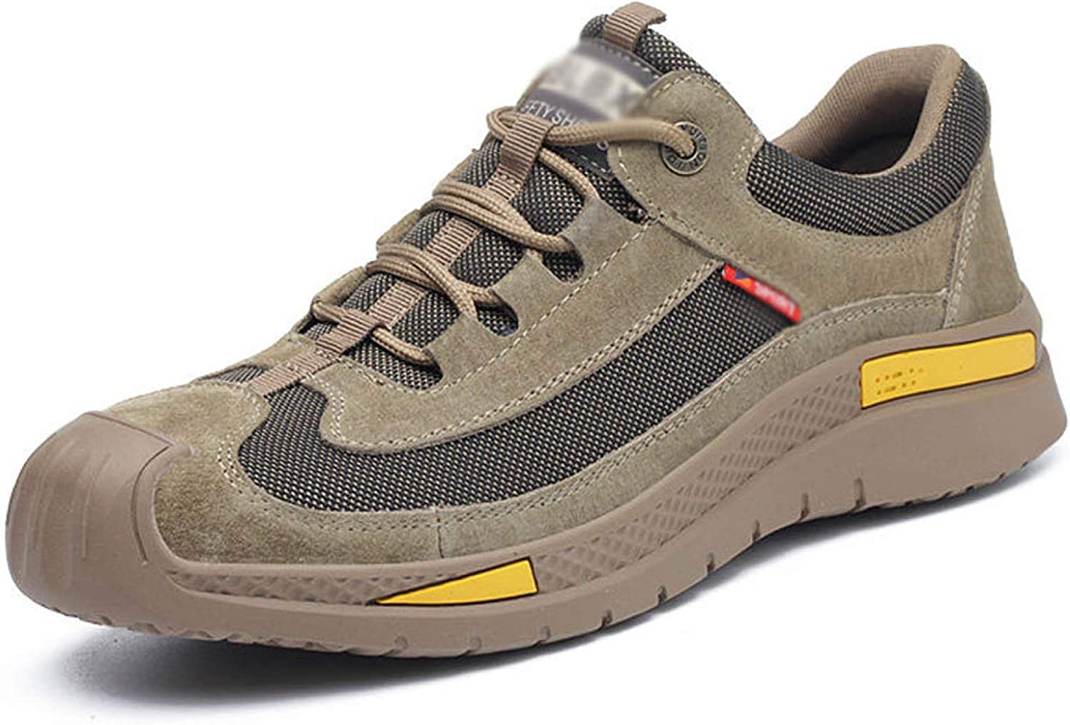 AGYE Men's Safety Shoes,Industrial Construction Shoe Steel Toe Trainers Lightweight Work Shoes Breathable Protective Work Sneakers,Khaki-40