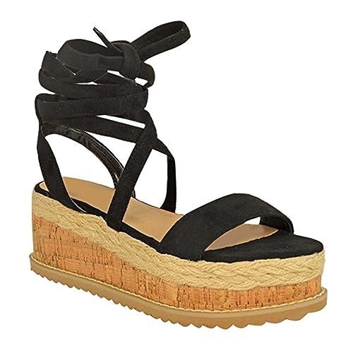 addabc452cf Fashion Thirsty Womens Ladies Cork Flatform Espadrille Wedge Sandals Ankle  Lace Up Shoes Size