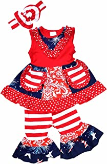 Girls 4th of July Patriotic Tank Boutique Outfit with Headband