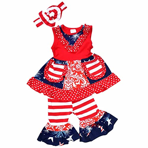 b62abc8da Unique Baby Girls 4th of July Patriotic Tank Boutique Outfit with Headband