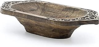 Norse Tradesman Hand-Hewn Bread Bowl - Decorative Viking Design - (17 Inch)