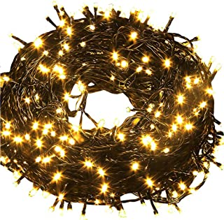 Fullbell 33ft Christmas LED Fairy Twinkle String Lights 100 LEDs with Controller for Chirstmas Tree,Garden,Patio,Multi Strings Connectable(Black Wire)(Warm White)