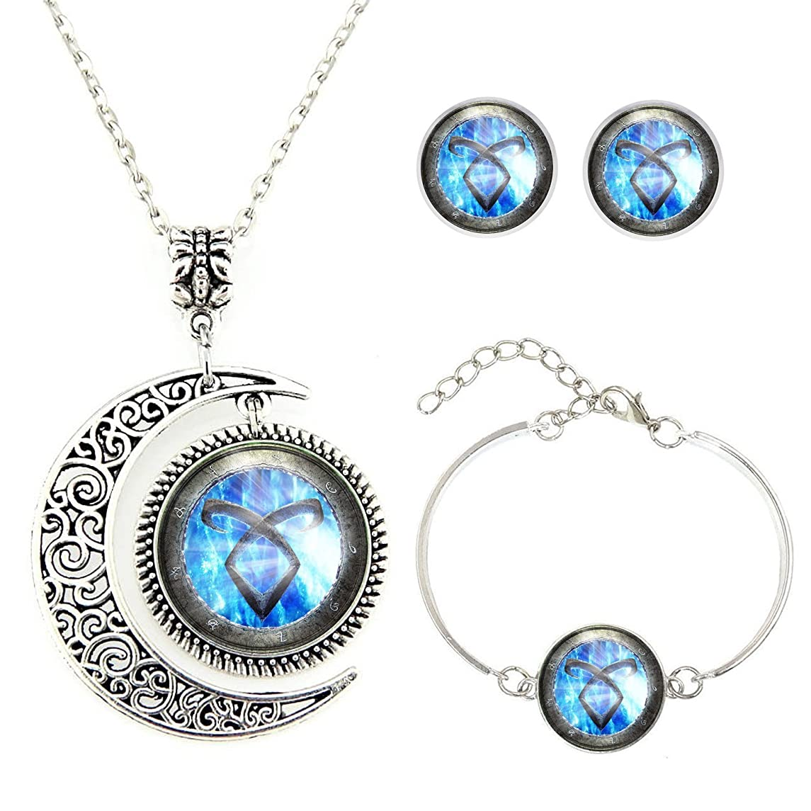Moon Pendant Shadowhunters Angelic Power Rune Necklace Shadowhunters Jewelry Set Fashion Moon Necklace Gift