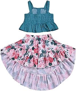 ARAUS 子供服 女の子 ファッションかわいい人気な赤ちゃん幸運な太陽オフショルダークロップトップス + スカート