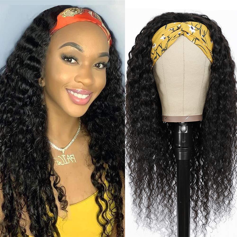 Deep Wave アイテム勢ぞろい Headband Wigs for Black 150% Women Density No 安心と信頼 Glueless