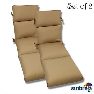 Comfort Classics Inc. Set of 2-22x74x5 Sunbrella Indoor/Outdoor Fabrics in Antique Brass Rib CHANNELED Chaise Cushion