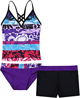 Aiihoo Kids Girls 3PCS Spaghetti Shoulder Straps Cutout Back Floral Printed Tops with Bottoms Shorts Swimming Swimsuit