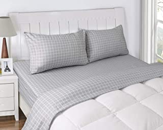 MARQUESS Microfiber Flannel Sheet Set-Ultra Soft & Comfortable Printed 4 Pieces Sheet, Breathable & Luxury Warm Bedding Collection, Fade Resistant & Easy Care (Full, Gray Grid)