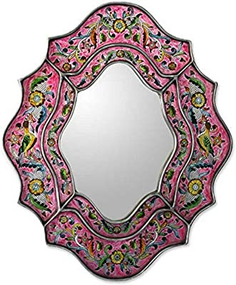 NOVICA Wild Orchids Reverse Painted Glass Mirror
