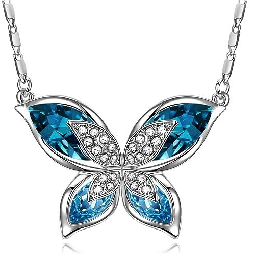 Cadena con colgante mariposa cristal de colores plata