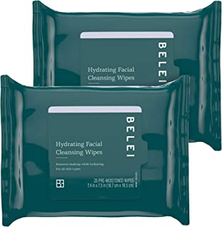 Belei by Amazon: Hydrating Facial Cleansing Wipes, Ophthalmologist Tested, Fragrance Free, Alcohol Free, 50 Count (Two pac...