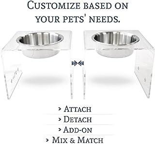 PetFusion Elevated SinglePod Magnetic Dog Feeder [Acrylic w/Embedded Magnets; Attach, Detach]. (Tall, Single), 11 x 11 x 9