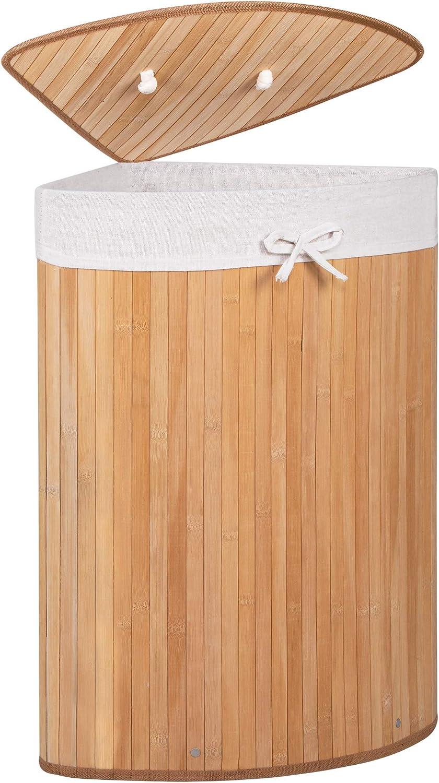 Bambus platzsparend W/äschesammler mit Deckel 73 L Schatzkiste f/ür Spielzeug Dunkelbraun W/äschesammler Badeinrichtung SPRINGOS Eckw/äschekorb
