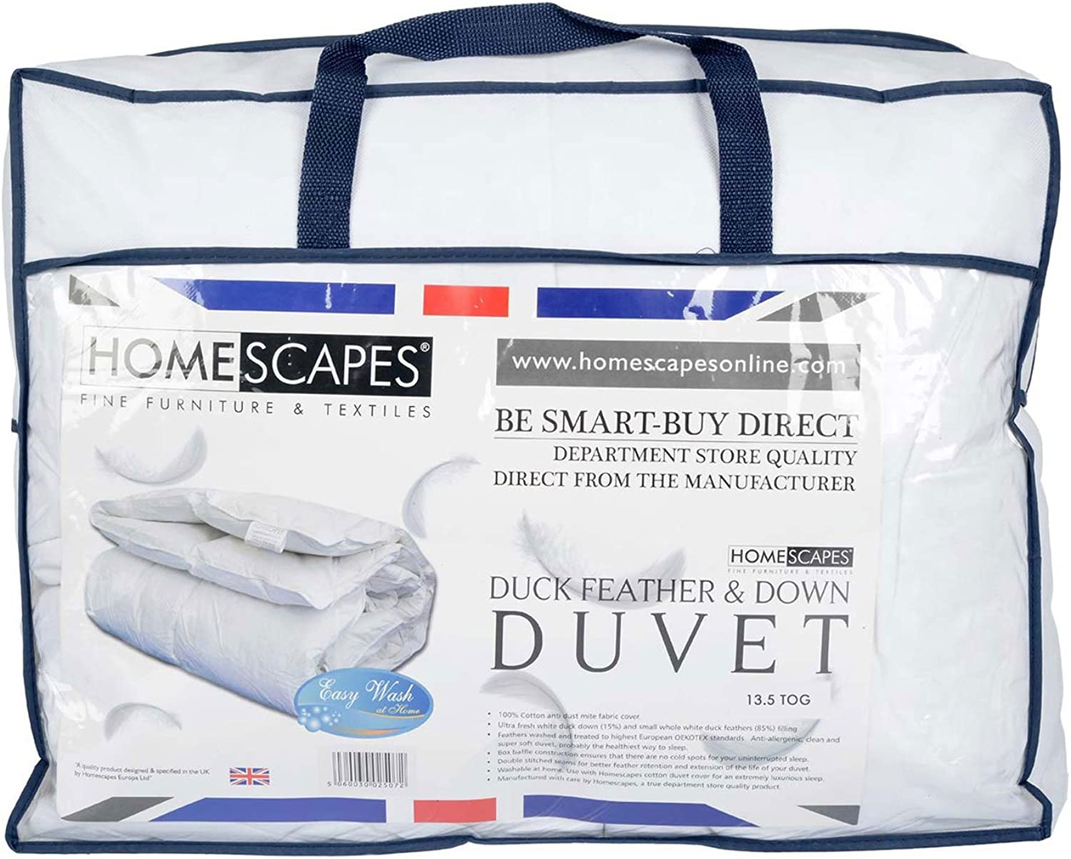 Homescapes - Luxury nouveau blanc Duck Feather & Down Duvet - 13.5 Tog - Super King - 100% Cotton Anti Dust Mite & Down Proof Cover - Anti allergen - Box Baffle Construction - Washable at Home Range