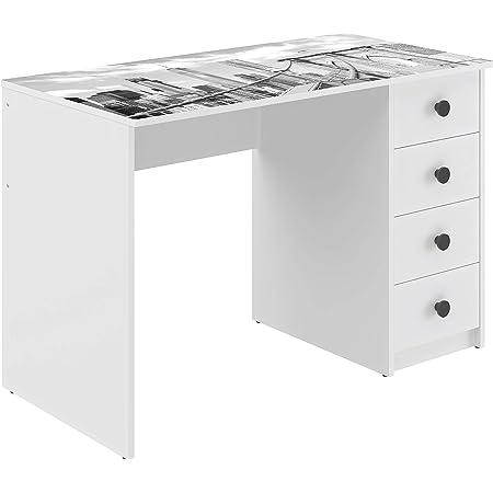 Marque Amazon -Movian - Bureau 4tiroirs Constance Modern, 56 x 110 x 73,5, Imprimé
