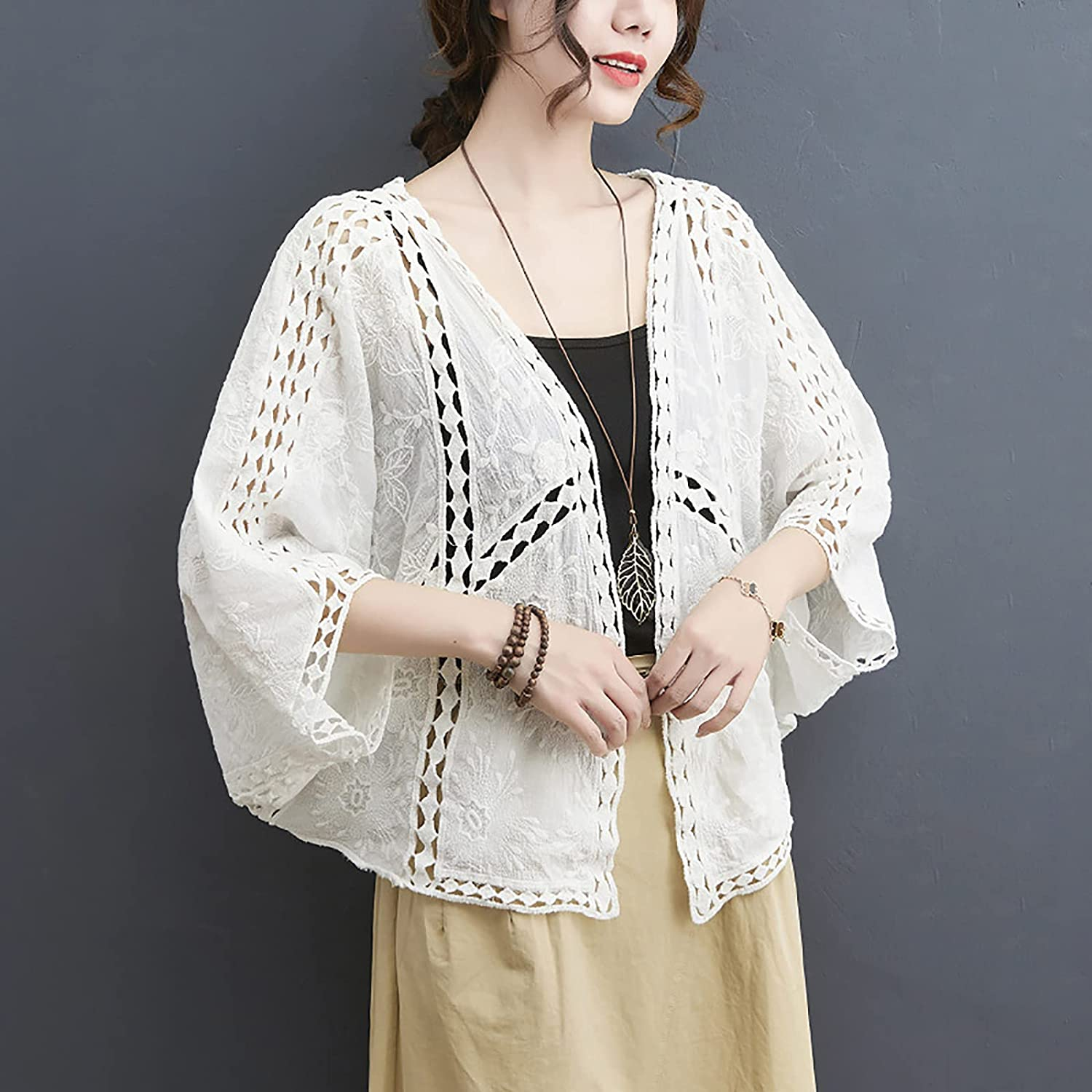 PEHMEA Womens Open Front Knit Cardigans 3/4 Sleeve Hollow Out Crochet Shrug Blouse