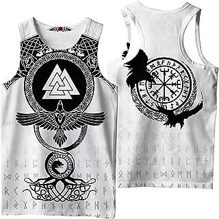 Men's Viking 3D Digital Printed Vest,Nordic Vintage Summer Odin Runes Symbol Scandinavian Round Neck Tops,Triangle b,5XL