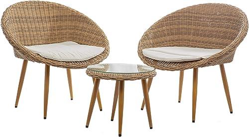wholesale BELLEZE Hitia 3 sale Pieces Wicker Patio Conversation Bistro wholesale Set, Brown outlet sale