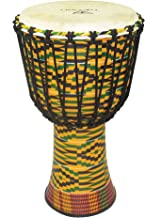 Tycoon Percussion 10 FIBERGLASS ROPE TUNED DJEMBE-KENTE FINISH, (TFAJ-10K)