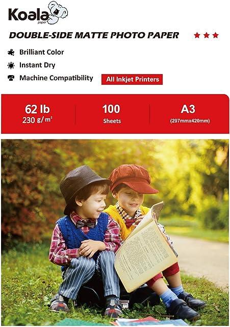 KOALA Papel fotográfico de doble cara mate para inyección de tinta A3 297x420 mm 100 hojas 230 g/m²