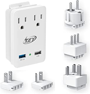 Key Power 2000W International Travel Adapter Kit, Quick Charge 3.0 USB and Two AC Outlets for US to Europe, Ireland, Russia, France, UK, Australia, New Zealand, Italy and More