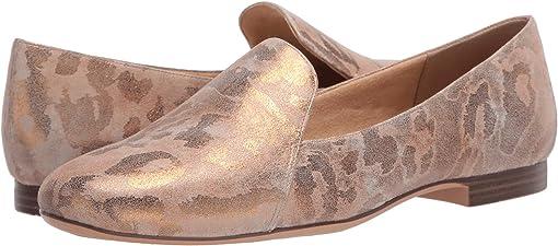 Tan Gold Metallic Leopard Leather