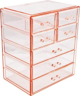 Sorbus Cosmetics Makeup and Jewelry Big Pink Storage Case Display- 3 Large and 4 Small Drawers Space- Saving, Stylish Acry...