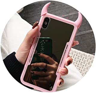 Mirror Phone Case for iPhone 7 6 6S 5 8 Plus Cute 3D Devil Horn Cover for iPhone X Xs Max Xr Hard Acrylic Back Case,U1,for I7 I8