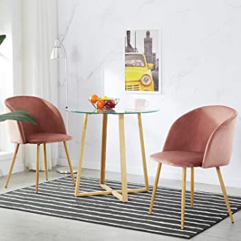 IPOTIUS Pack 2 Sillón Lounge Terciopelo Retro, Silla de Comedor/Cocina Sillas Nordicas Tapizadas con Patas Metal Fuertes y Tela de Terciopelo Sedoso, Rosa: Amazon.es: Hogar