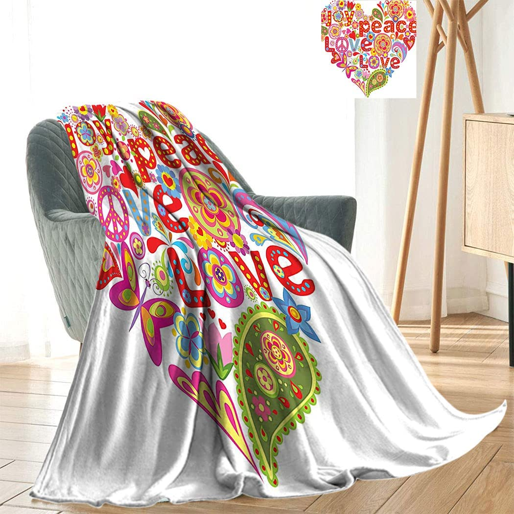 Groovy Decor Blanket Printing Print with Colorful Hippie New Free Shipping Floral Oakland Mall