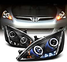 For Honda Accord Black Bezel Dual Halo Ring DRL LED Projector Headlights Front Lamps Replacement Pair