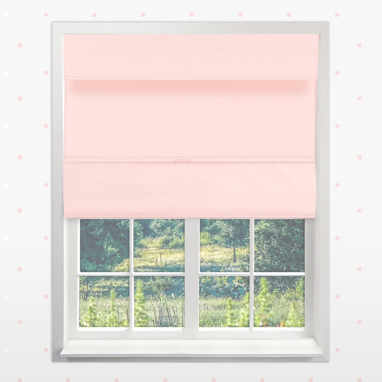 Chicology Cordless Magnetic Roman Shades // Window Blind Fabric Curtain Drape 27W X 64H Light Filtering Thermal Mountain Almond
