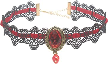 Meiysh Retro Handmade Lace Royal Court Vampire Choker Gothic Necklace Black Pendant Chain-red