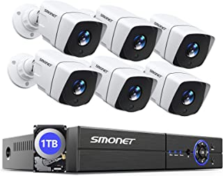 【Update】 8CH Video Security Camera System,SMONET 5-in-1 Surveillance DVR Recorder with 6pcs 5.0MP Indoor Outdoor Waterproo...