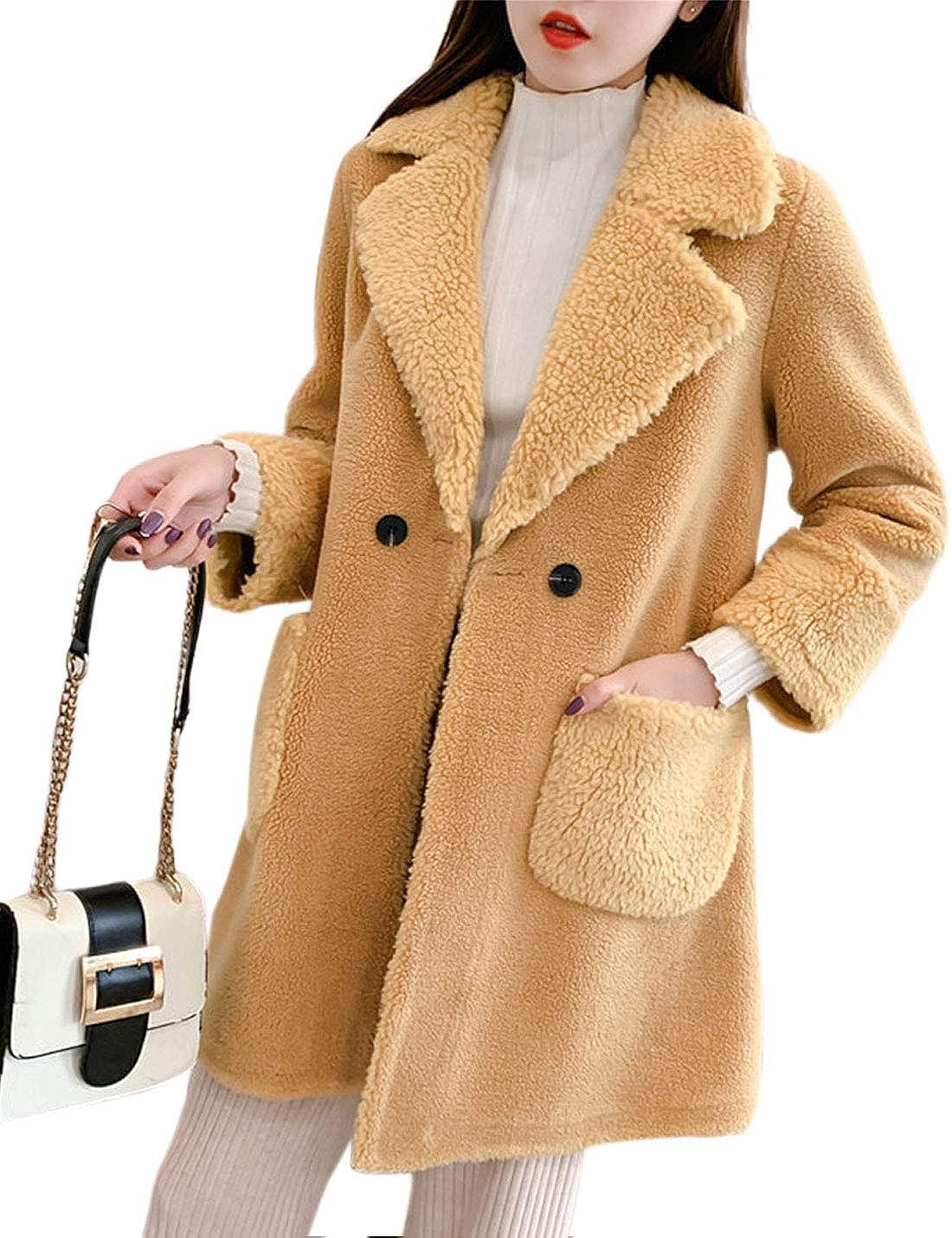 Lentta Womens Casual Mid Long Fleece Lapel Collar Fluffy Shearling Jacket Coats