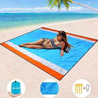 "BMHNOONE Sand Free Beach Blanket, Oversize Sand Free Beach mat 82""x79"",Portable Outdoor Beach Blanket for Beaches,Camping,Hiking and Picnic- Lightweight Quick Drying Heat Resistant"