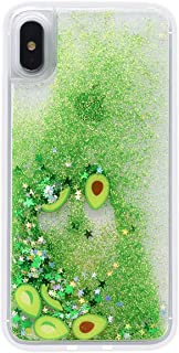 iPhone X/XS Liquid Case,Fusicase Funny Shiny Stars Sparkle Green Quicksands Shell Flowing Floating Ultra Thin Clear Bumper Fruit Avocado Pattern Glitter Cover Fitted for iPhone X/XS
