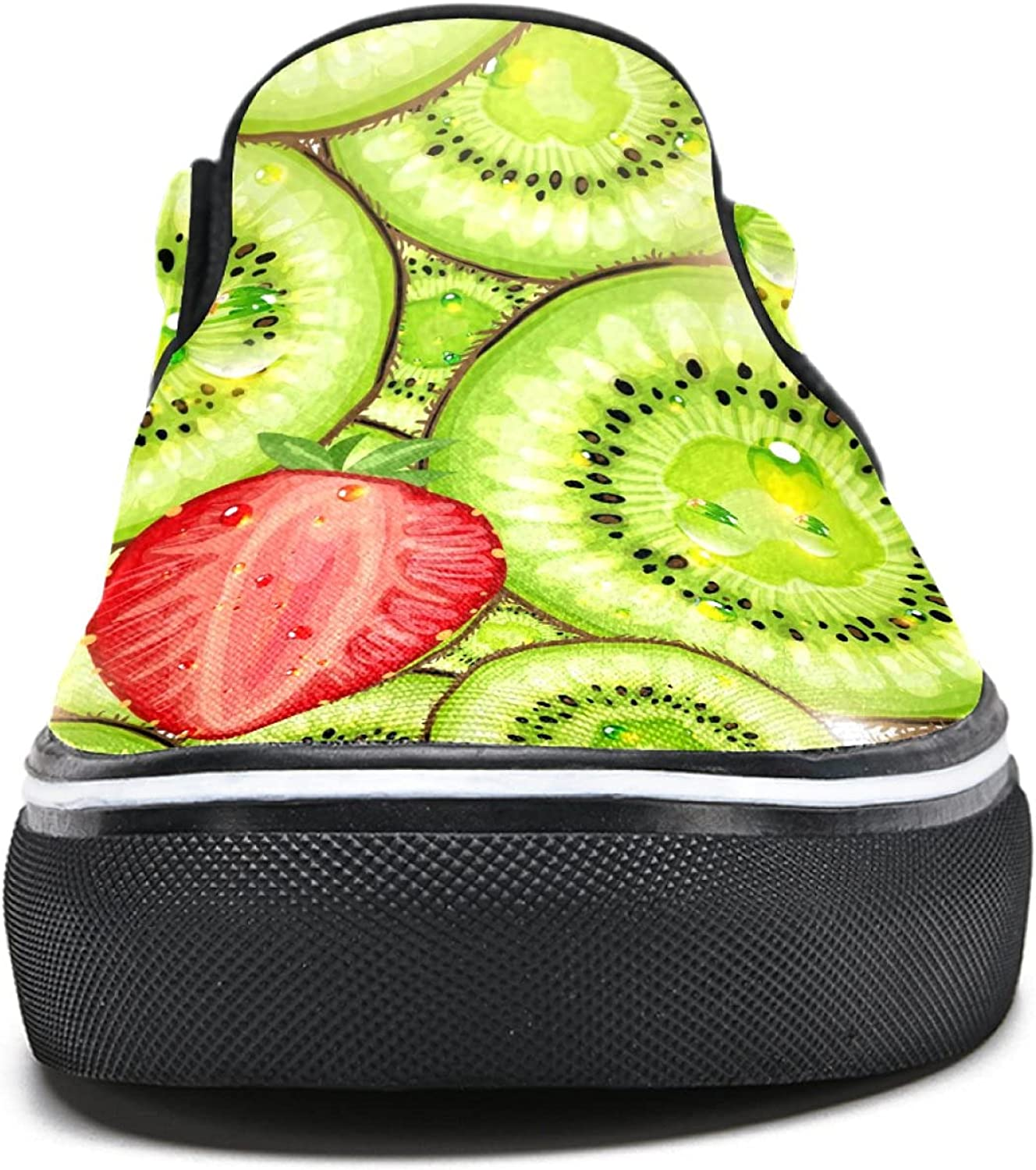 Men's Classic Slip-on Canvas Shoe Fashion Sneaker Casual Walking Shoes Loafers 6.5 Strawberry and Kiwi Patterns