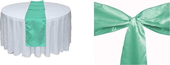 Elina Home Mint Satin 10 Table Runner & 50 Combo of TableRunner & Chair Bow Sash for Wedding, Mint, Mint