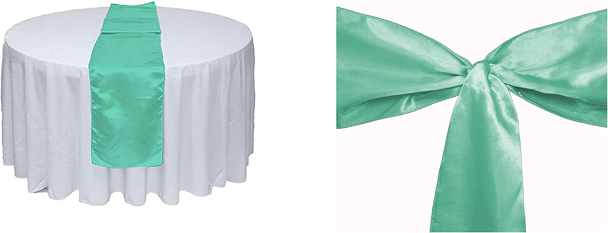Elina Home Mint Satin 10 Table Runner 50 Combo Of TableRunner Chair Bow Sash For Wedding Mint Mint
