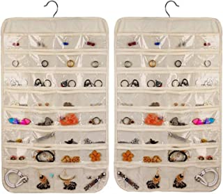 MIUZMORE Jewelry organizer,Foldable transparent hanging travel jewelry bag, Organizer of earrings, necklaces, makeup, hair...